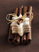 Cinnamon stars on cinnamon sticks