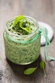 A jar of spinach spread