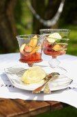 Peach salad with iced zabaione (Italy)