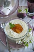 Rice pudding with apricots