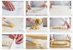 Making apple strudel