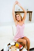 A young woman stretching