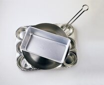 A Stack of Pans;Muffin Pan Skillet and Loaf Pan
