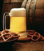 Mug of Beer with Pretzels