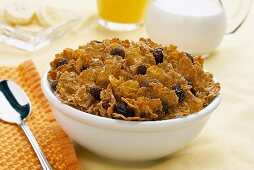 A Bowl of Bran Flake Cereal and Raisins without Milk