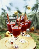 Mulled Wine in Stem Glasses for the Holidays