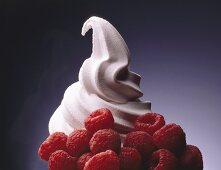 Soft serve raspberry ice cream