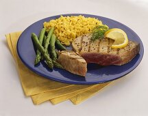 Grilled Tuna Steak with Yellow Rice and Asparagus