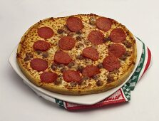 A Pepperoni and Sausage Pizza