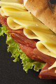 Ham, Cheese and Tomato Sandwich with Lettuce, Close Up