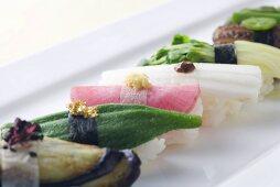 Vegetable Nigiri Sushi Plate: Eggplant, Okra,Pickled Turnip, Nagaimo, Radish Sprouts and Shiitake Mushroom with Pepper