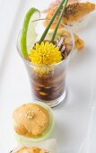 Uni and Shot Glass with Soy Sauce, Uni and Quail Eggs