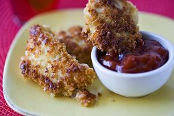 Panko Crusted Chicken Tenders with Ketchup