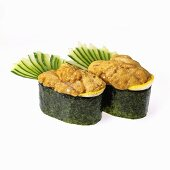 Sea Urchin Sushi on White