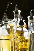 Bar Glasses, Mixer and Liquors