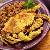 Fried Soft Shell Crab with Red Beans and Rice