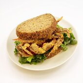 Fried Soft Shell Crab Sandwich with Lettuce and Tomato; White Background