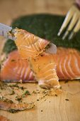 Swedish Gravlax Sliced on Knife