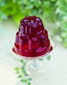 Red Jello Mold on Glass Stand In Garden Setting