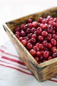 Cranberries in wooden box
