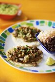 Carne Asada (Beef Tacos) Tacos with Rice and Beans