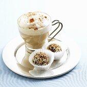 Cappuccino with Two Chocolate Hazelnut Truffles