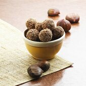 Bowl of Chocolate Chestnut Truffles; Chestnuts