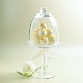 White Chocolate Truffles in a Covered Glass Dish