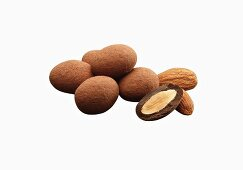 Chocolate Covered Almonds Dusted in Cocoa Powder; One Half; Almonds; White Background
