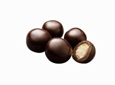 Dark Chocolate Malted Milk Balls; White Background