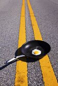 Fried Egg in Skillet in Middle of the Road