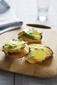 Pear, Pea and Cheese Bruschetta