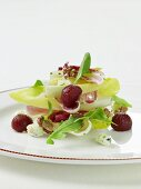 Endive salad with poached pears, blue cheese and nuts