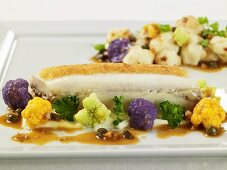 Stuffed Sole in Brown Butter Sauce with Multi-Colored Cauliflower Florets