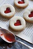 Jam Filled Heart Window Cookies; Spoon with Jam