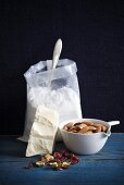 Baking Ingredients; Sugar, White Chocolate, Nuts and Dried Fruit