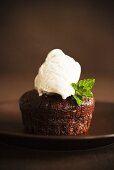 Individual Chocolate Cake with a Scoop of Vanilla Ice Cream