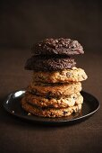 Double Chocolate Chip and Chocolate Chip Cookies; Stacked on a Plate
