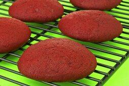 Red Velvet Whoopie Pie Shells on Cooling Rack