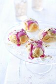 Iced profiteroles with slivered almonds
