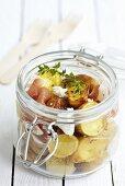 Kartoffelsalat mit Schinken fürs Picknick