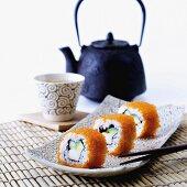 California rolls with tea