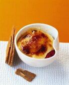 Raspberry dessert with caramelised vanilla cream