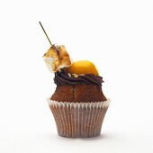 Peach muffin with chocolate cream and marshmallow