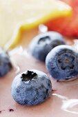 Blueberries on a blueberry cream torte