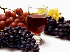 Still Life: Assorted Grapes with a Glass of Red Wine