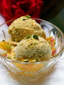 Apricot Ice Cream in a Glass Bowl