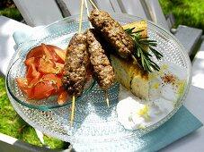 Beef Kabobs with Tomato Salad and Yogurt Sauce