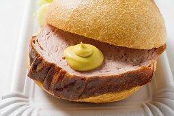 Leberkäse (a type of meatloaf) in a bread roll