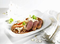 Duck fillet with Waldorf salad and Cumberland sauce for Christmas dinner